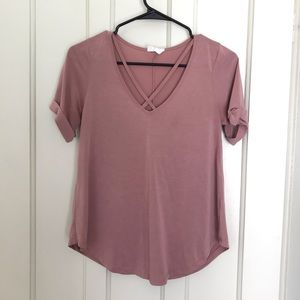 Sienna Sky Blush Criss Cross Cut Out T-Shirt